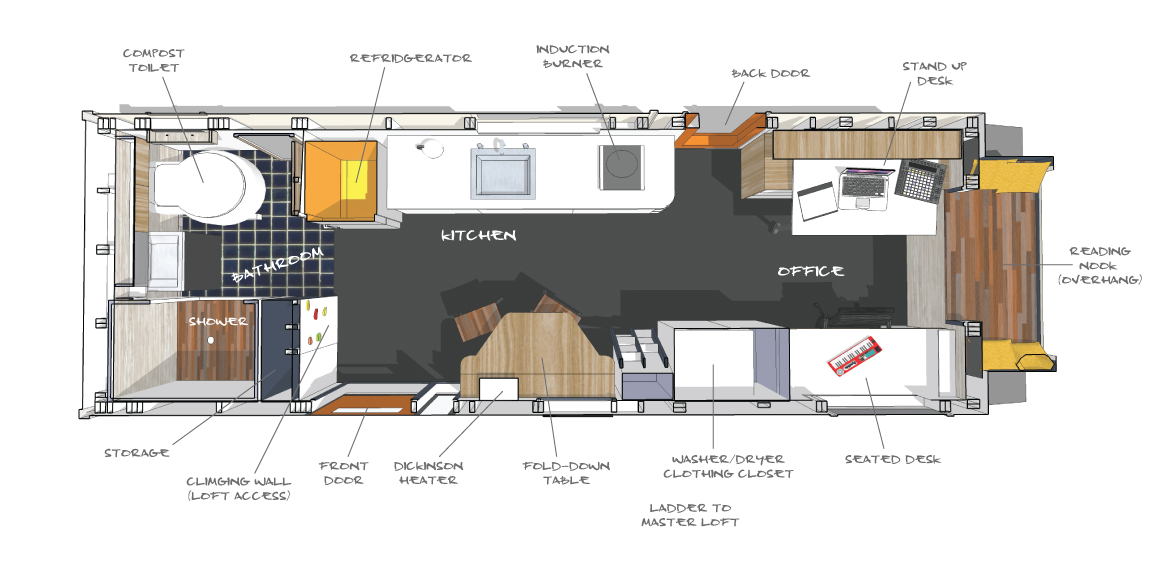 Tinygiant s perspective interior views tinygiant house Floor plan view
